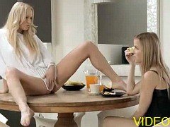 Watch free video of blonde lesbian girls Carla and Abby explore their perfect pussies and expertly finger each other until they cum.